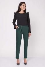 Zielone Eleganckie Spodnie w Kant z Paskiem