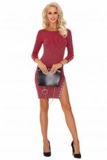 Czerwona Ołówkowa Sukienka Dzianinowa z Ozdobnymi Guzikami