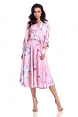 Pudrowa Rozkloszowana Sukienka z Rozciętymi Rękawami w Kwiaty