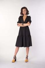 Czarna Sukienka z Falbanką z Kopertowym Dekoltem