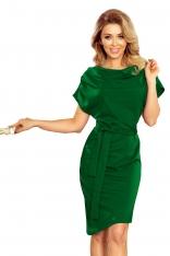 Zielona Asymetryczna Sukienka z Paskiem
