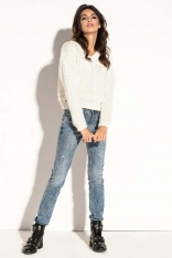 Ecru Krótki  Klasyczny Sweter z Dekoltem V