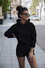 Komplet Dresowy Bluza Kangurka + Szorty - Czarny