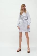 Krótka Sukienka z Długim Rękawem - Szara