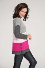 Różowo Amarantowy Klasyczny Trójbarwny Sweter z Zatrzaskami na Boku