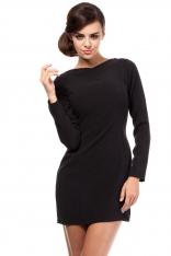 Czarna Dopasowana Mini Sukienka z Wycięciem na Plecach
