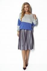 Lazurowo-Szary Dwukolorowy Sweter z Bufiastym Rękawem