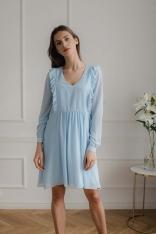 Niebieska  Szyfonowa Marszczona Sukienka z Falbankami