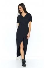 Czarna Długa Dresowa Sukienka z Kopertowym Dołem
