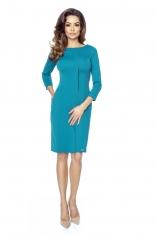 Zielona Dopasowana Sukienka z Plisą na Przodzie