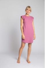 Sukienka z Bawełny Prążkowanej bez Rękawów - Wrzosowa