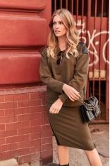 Komplet Bluza + Spódnica z Eko-Skórą - Khaki
