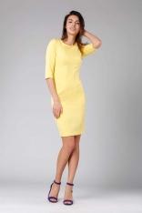 Żółta Klasyczna Ołówkowa Sukienka z Rękawem za Łokcie