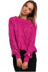 Sweter z Rozcięciem na Rękawach - Fuksja
