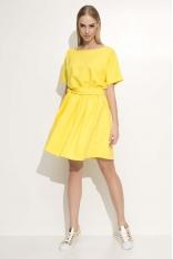Żółta Sukienka z Krótkim Kimonowym Rękawem