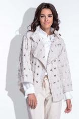 Beżowy Sweter-Narzutka z Ażurowym Wzorem