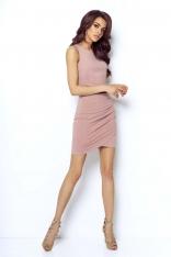 Różowa Dopasowana Mini Spódnica z Kopertowym Założeniem