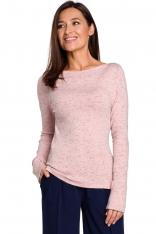 Różowy Lekki Sweterek z Zakładkami na Ramionach