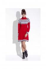 Czerwona Ciepła Sukienka z Golfem w Norweskie Wzory