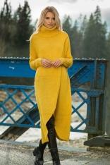 Żółta Długi Kopertowy Sweter z Golfem