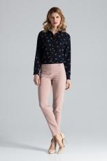 Różowy Spodnie z Prostymi Nogawkami