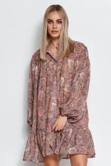 Zwiewna Mini Sukienka we Wzory - Wzór 19