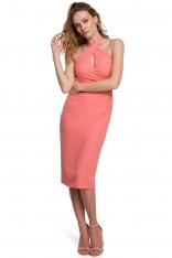 Ołówkowa Sukienka z Wiązaniem na Karku - Pomarańczowa