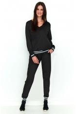 Czarny Wygodny i Stylowy Komplet Dresowy Bluza i Spodnie