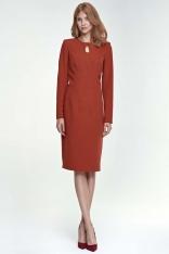 Ruda Sukienka Ołówkowa Midi z Łezką przy Dekolcie