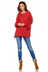 Oversizowy Bordowy Sweter z Bufiastym Rękawem