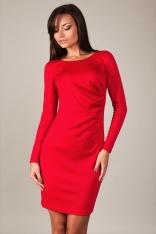 Czerwona Klasyczna Dopasowana Sukienka Drapowana na Boku z Długim Rękawem