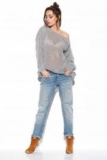 Ażurowy Lekki Sweter Oversize - Jasnoszary
