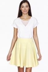 Żółta Efektowna Rozkloszowana Spódnica przed Kolano