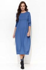 Jeansowa Sukienka Midi Bombka z Długim Rękawem