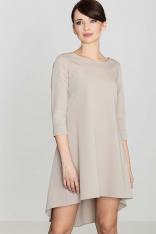 Beżowa Asymetryczna Sukienka z Plisami