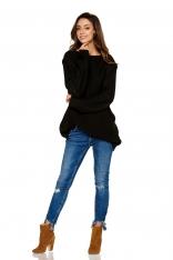 Czarny Luźny Dłuższy Sweter z Warkoczem i Łezką