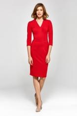 Wizytowa Dopasowana Sukienka z Dekoltem V - Czerwona