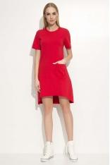 Czerwona Sukienka Asymetryczna o Luźnym Kroju z Kieszonką