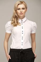 Biała Koszulowa Bluzka z Kontrastowymi Guzikami