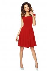 Czerwona Sukienka Rozkloszowana z Kokardą