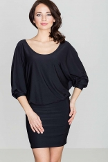 Czarna Casualowa Zbluzowana Sukienka Mini z Długim Rękawem