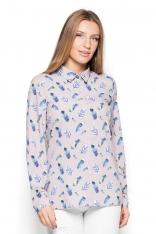 Koszula ze Wzorem Kolorowych Piór Wzór 49