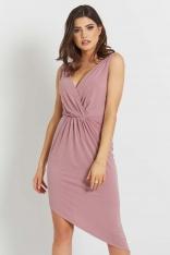 Różowa Asymetryczna Sukienka z Dekoltem V na Szerokich Ramiączkach