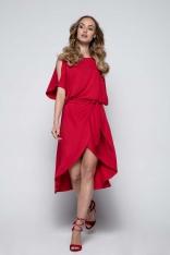 Czerwona Sukienka Koktajlowa z Rozciętymi Rękawami