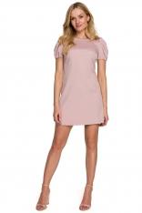 Prosta Mini Sukienka z Bufiastym Rękawem - Różowa