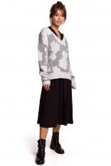 Sweter w Kwiaty z Dekoltem V - Model 1
