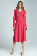 Fuksja Modna i Kobieca Sukienka Midi z Długim Rękawem