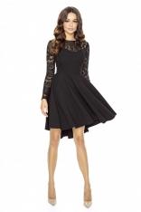 Czarna Ultrakobieca Sukienka z Koronkową Górą