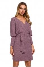 Swetrowa Mini Sukienka z Kopertowym Dekoltem - Wrzosowa