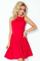 Czerwona Sukienka Rozkloszowana z Dekoltem w Łódkę bez Rękawów